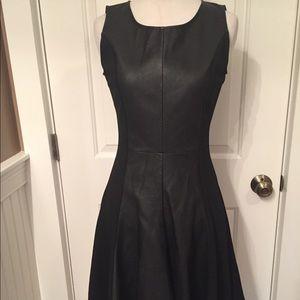 OLIVACEOUS dress Faux Black Leather fit & flare S